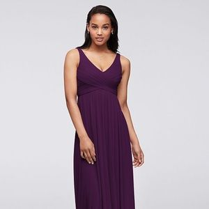 Bridesmaid's Long Mesh Dress with Cowl Back - Plum
